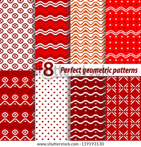 A set of seamless retro Zig zag and patterns with dots.