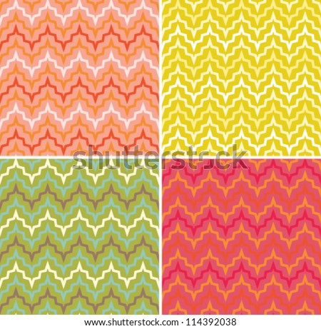 A set of seamless retro Zig zag patterns. Abstract geometric background.