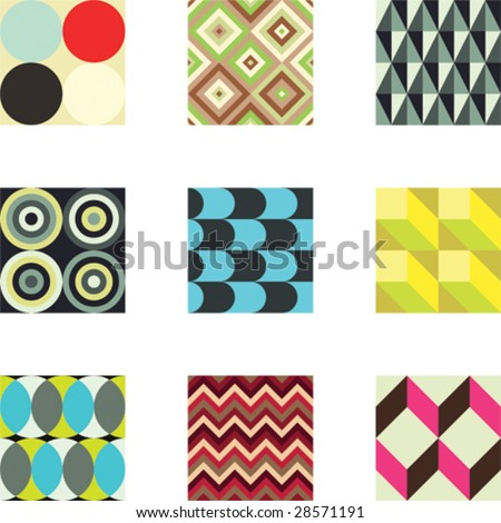 A set of 9 seamlessly tiling vector patterns in trendy colors.