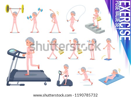A set of senior women on exercise and sports.There are various actions to move the body healthy.It's vector art so it's easy to edit.