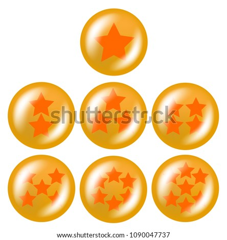 Stock Photo a set of seven glossy balls with stars from one to five stars