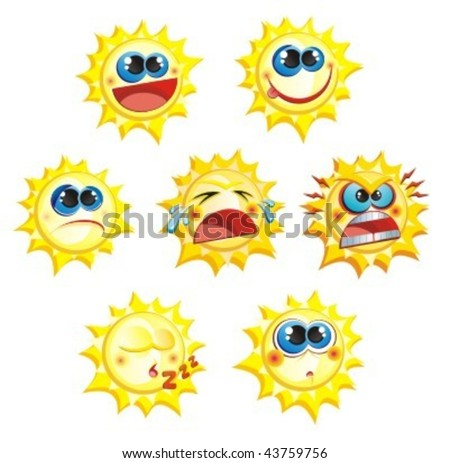 A set of seven suns with different emotions