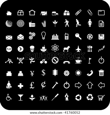 A set of seventy two vector icon symbols