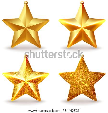 a set of shiny golden christmas