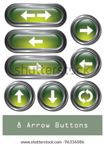 A set of 8 shiny green arrow buttons with metallic borders.