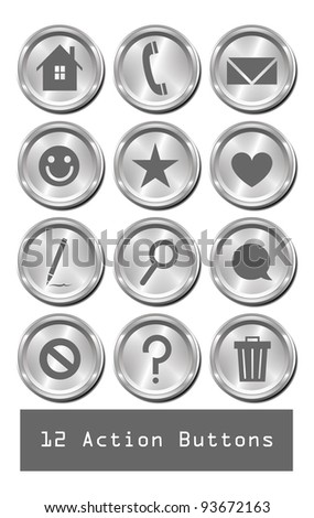 A set of 12 shiny metallic action buttons.