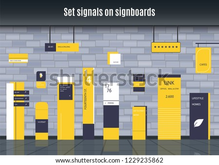 A set of signs for business. Direction, wall mount and billboard design. A set of outdoor and indoor signs for advertising. sign of pylon, signs, advertising construction of signs.