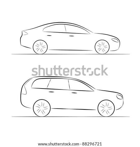 A set of silhouettes of car on a white background