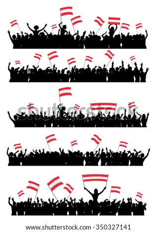 A set of 5 silhouettes of cheering or protesting crowd of people with Austrian flags and banners.