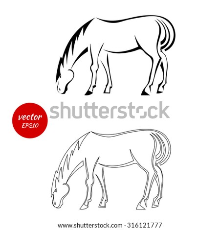 a set of silhouettes of horse
