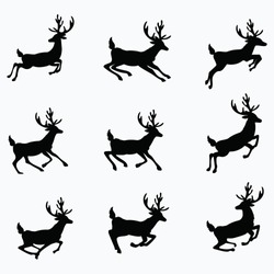 A set of silhouettes of running deer. Collection of Christmas deer. Leaping deer Santa. Vector illustration of forest animals. Stylized logo.