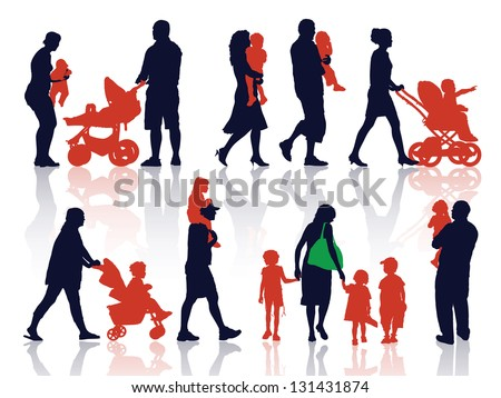 A set of silhouettes, parents and children on a walk.