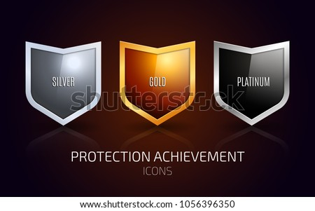 A set of Silver, Gold and Platinum shield. Protection achievement Icons design. Vector illustration Сток-фото ©