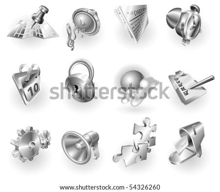 A set of silver steel or aluminium shiny glossy metal metallic internet application icon set series.
