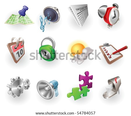 A set of silver steel or aluminium shiny glossy metal metallic internet application icon set series.
