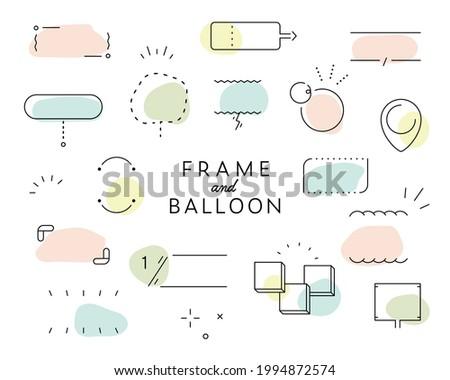 A set of simple designs such as frames, decorations, speech bubbles, dividers, etc. Foto stock ©