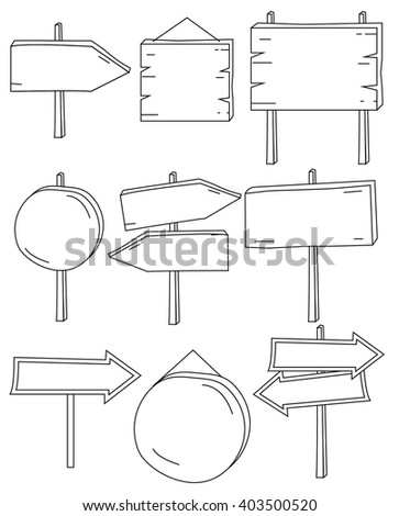 a set of simple doodle signboard for location, direction and others #403500520