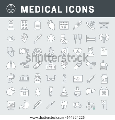 A set of simple line medical icons with fill, expand stroke