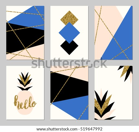 a set of six abstract geometric