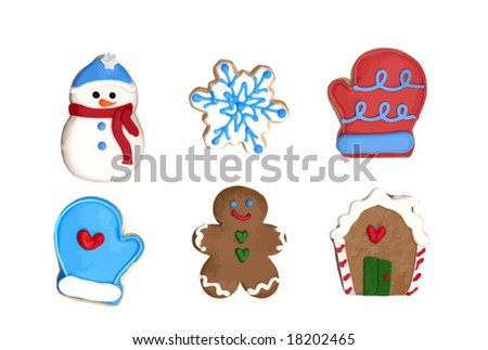 A set of six Christmas cookies : gingerbread man, gingerbread house, snowflake, snowman, two gloves. VECTOR.