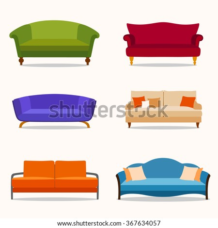 A set of six couches in the flat style. Vector illustration.