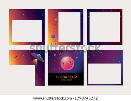 a set of six editable square