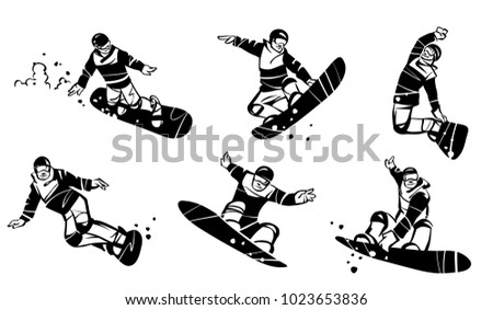 a set of six snowboarders hand