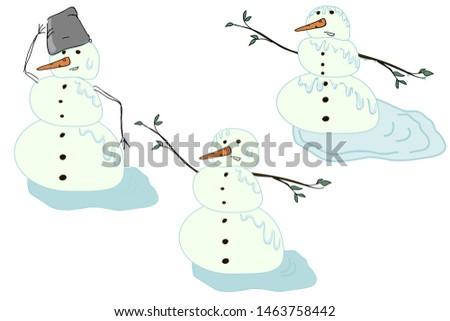 a set of snowmen that gradually