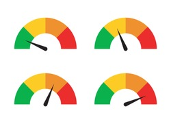 A set of speed performance gauges / measurement gauge from low to high flat vector icons for apps and websites