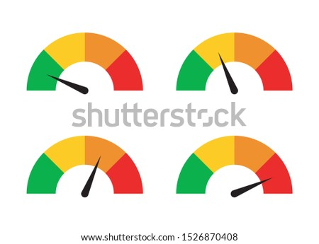 A set of speed performance gauges / measurement gauge from low to high flat vector icons for apps and websites ストックフォト ©