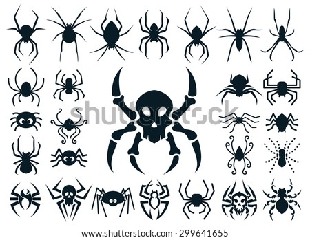a set of spider shapes in
