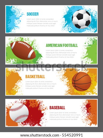 a set of sports themed banners