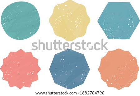 A set of stamp-like faint frames and background illustrations such as circles, hexagons, octagons, wavy lines, and jagged edges. Stock foto ©