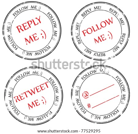 a set of stamps to Twitter: follow, reply, retweet