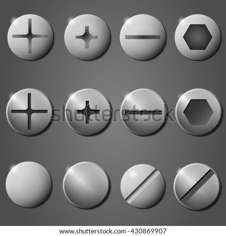 A set of steel shiny screws and heads. Vector illustration of Metal screw and head.