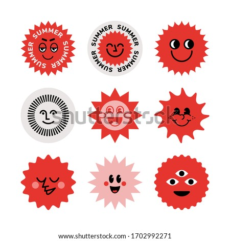 A set of stickers. The sun, logo, smile face, good mood. Brutalism, modern design. The style of the 80s.
