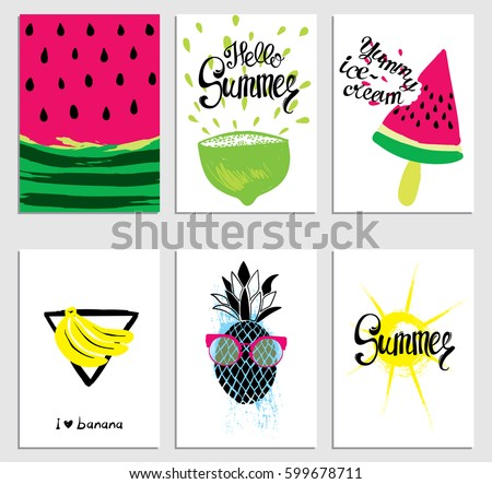 a set of stylish summer cards