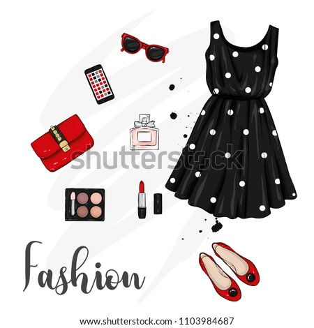 A set of stylish women's clothing. Fashionable look. Dress, shoes, backpack and makeup. Vector illustration for a postcard or a poster, print for clothes.