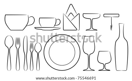 A set of stylized cutlery vector icons, in white background isolated