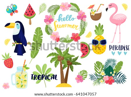 Shutterstock A set of summer elements: tropical flowers, flamingos, toucan, smoothies, palm leaves. Tropical collection of stickers for summer design, scrapbooking and postcards. Vector