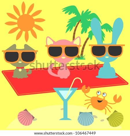 A set of summer holiday elements