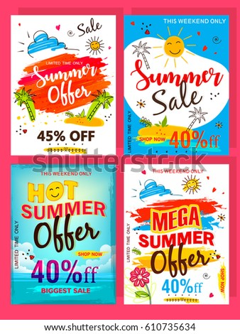 "A Set of ""Summer Offer"" Flyer designs, Vector Illustrations based on Line Art and Doodle Design on decorative colorful background."
