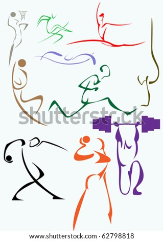 A Set Of Symbolic Images Of Sports Stock Vector 62798818 ...