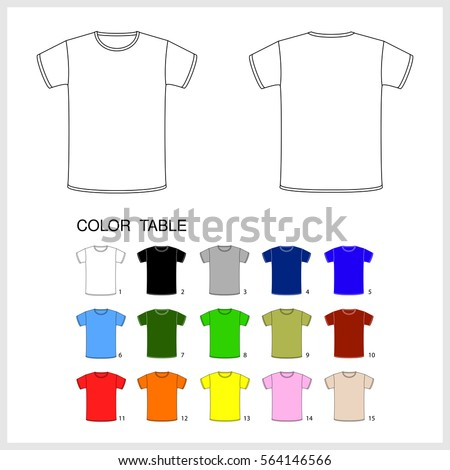 Shutterstock A set of T-shirts of different colors. T-shirt mens. Vector illustration.