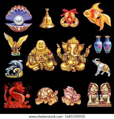 A set of talismans that bring good luck, wealth, health, strength... Imagine de stoc ©