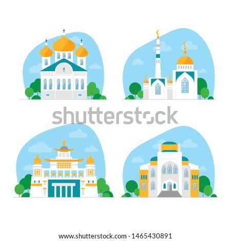 A set of temples of different religions. Mosque, synagogue, Church, Buddhist temple. Four world faiths. White buildings against a blue sky and clouds. Flat vector on white background