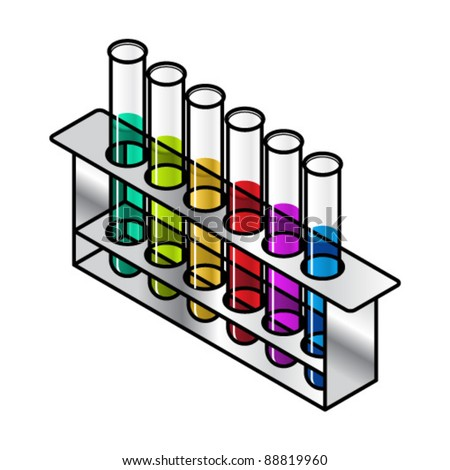 A set of test tubes sitting in a metal rack containing different colored solutions. You can change the color of the liquids. The test tubes cannot be separated from the stand.