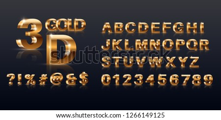 A set of the gold sparkling letters, figures and symbols.3D the alphabet. Elements for design, festive jewelry. Vector illustration.