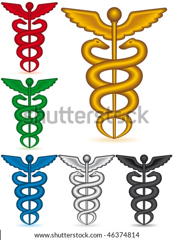 A set of the medical symbol caduceus on white background - blend only