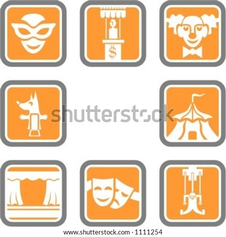 A set of 8 theatre vector icons.